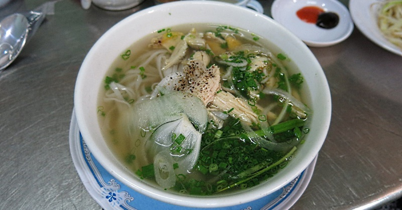 A bowl of Pho Ga served in a pho shop in Saigon