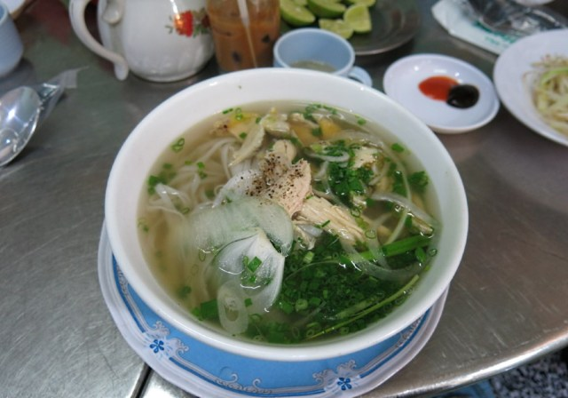 A bowl of Pho Ga served in a cafe in Saigon