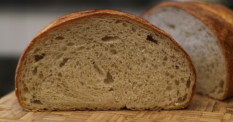 A loaf with loose crumb from using a pizza stone