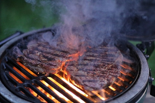 Rib-eye steaks flame grilled on a Big Green Egg