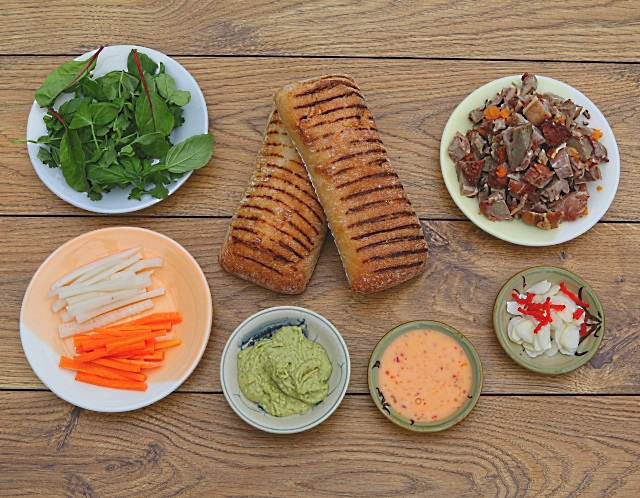 The ingredients to make a Banh Mi Panini