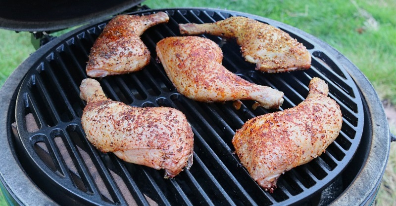 Life of Spice chicken legs cooking in a Big Green Egg