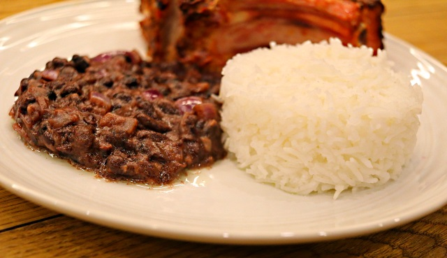 Black bean coconut rice served with a double pork chop