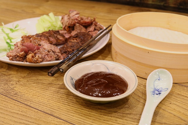 Crispy aromatic duck served with hoisin sauce