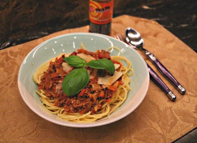 Spaghetti bolognese enhanced with a Dizzy Pig Dizzy Dust rub