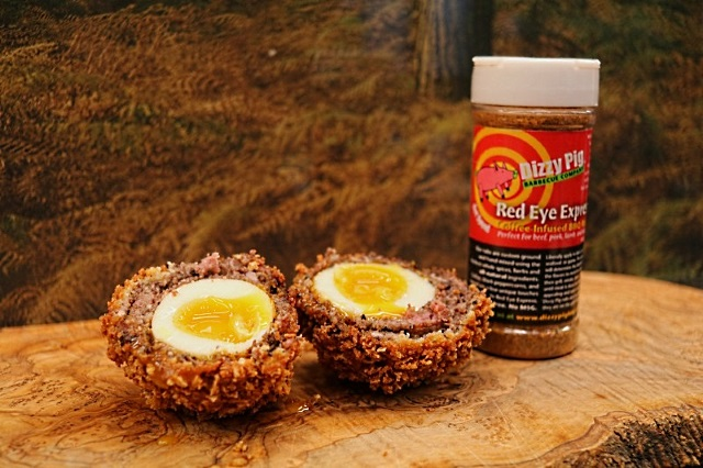Scotch eggs made using Dizzy Pig Red-Eye Express rub