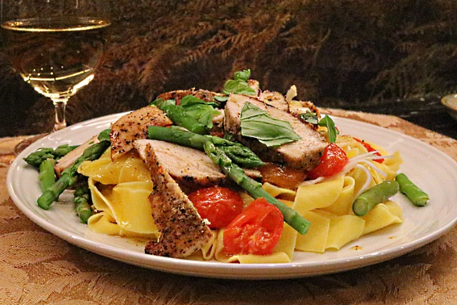 Sous vide chicken breast with pasta, vegetables and pickled celeriac