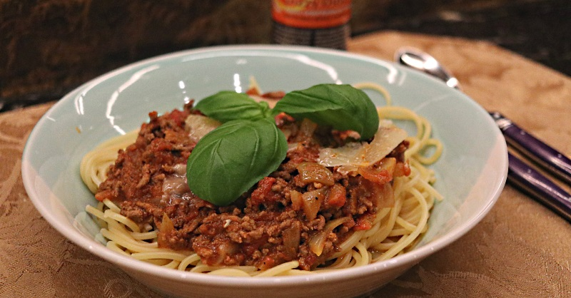 Spaghetti bolognese infused with a BBQ rub