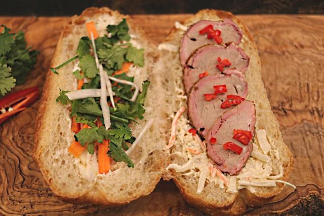 Open face Vietnamese Banh Mi sandwich