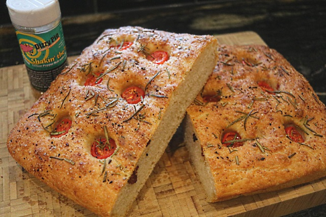 Focaccia with Dizzy Pig Shakin' The Tree rub on top