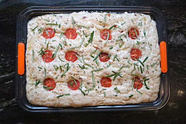 Focaccia with tomatoes and rosemary added just before baking