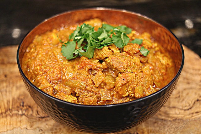 Simple and delicious pork curry topped with coriander