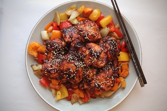 Ancho chili and hoisin sauce chicken