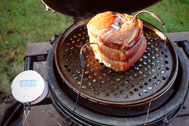 Smoking a gammon joint in a Big Green Egg