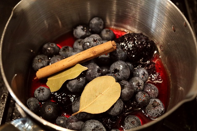 Making the huckleberry sauce