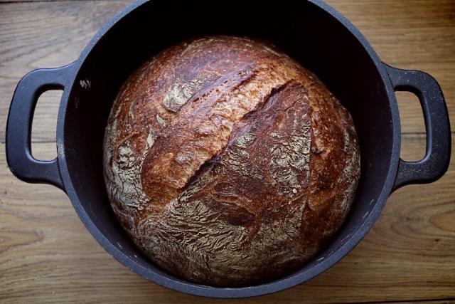Freshly baked loaf of crusty artisan bread