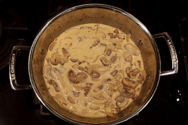 Madeira and mushroom steak sauce reducing