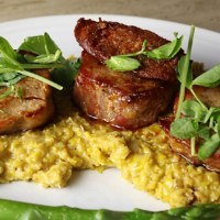 Seared Pork and Chorizo with Sweetcorn Puree