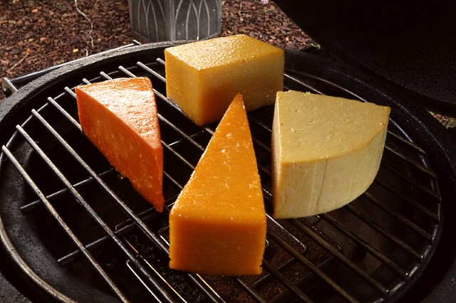 Cheeses smoking in a Big Green Egg (library pic)