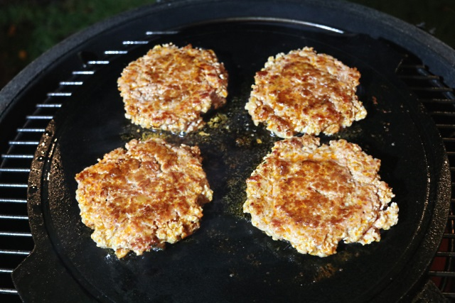 Pork and chorizo burgers cooking in a Big Green Egg