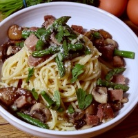 Smoked Ham and Mushroom Carbonara