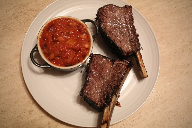 Slow cooked short ribs served with smokey chipotle beans