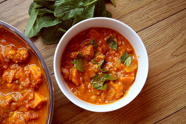 Chicken and sweet potato curry with spinach