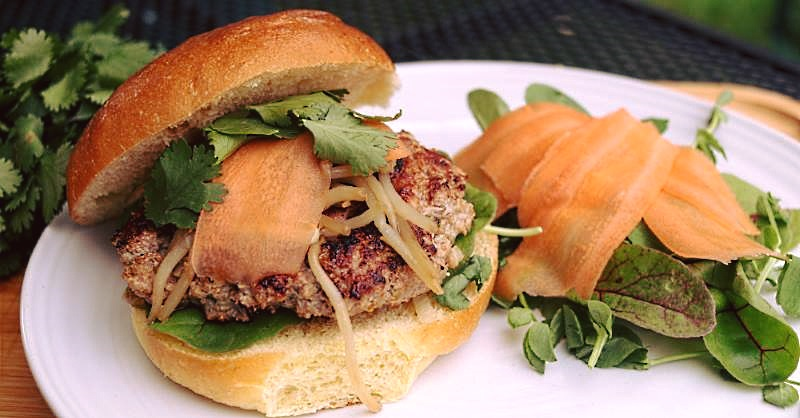 Vietnamese pork and lemongrass burger
