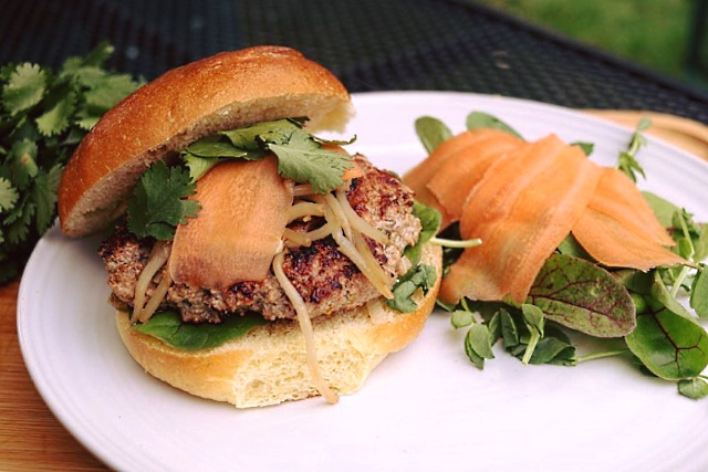 Vietnamese pork and lemongrass burger with salad