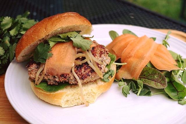 Vietnamese pork and lemongrass burger with salad
