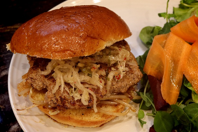 Vietnamese pork and lemongrass burger with kimchi