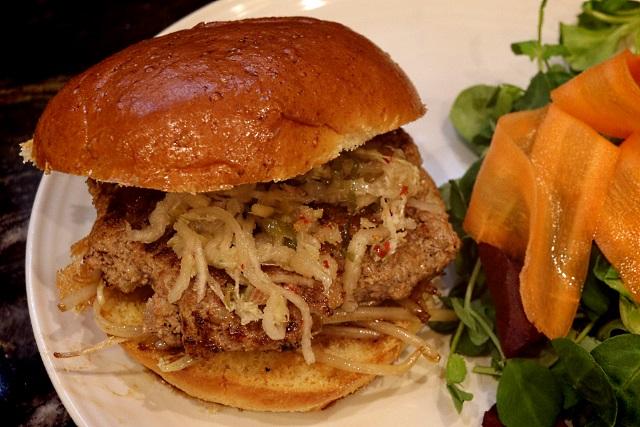Vietnamese pork and lemongrass burger with kimchi