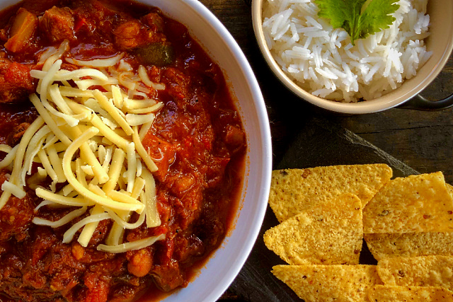 Alder smoked brisket chilli served with rice and tortilla chips