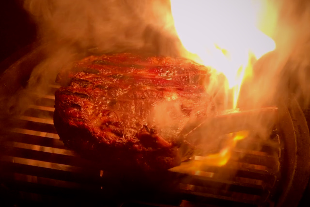 Searing with truffle butter on a Big Green Egg