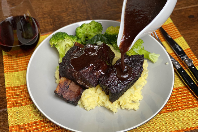 Serving with red wine sauce